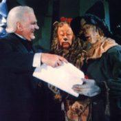 Oz scarecrow with diploma